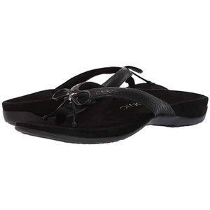 Vionic Black Bow Thong Flip Flop Sandals 10 Wide